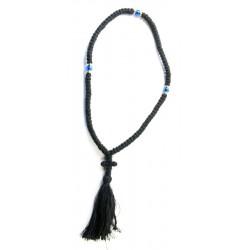 Chapelet orthodoxe 100 grains en laine avec grains bleus