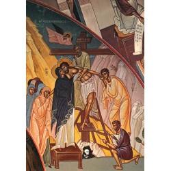 Carte reproduction d'une fresque. Descente de la croix