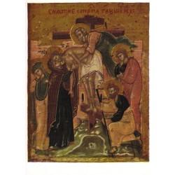 Carte reproduction d'icône. Le Christ descendu de la croix