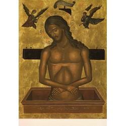 Carte reproduction d'icône. Le Christ au tombeau