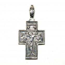 Croix en argent Christ en croix et Mère de Dieu