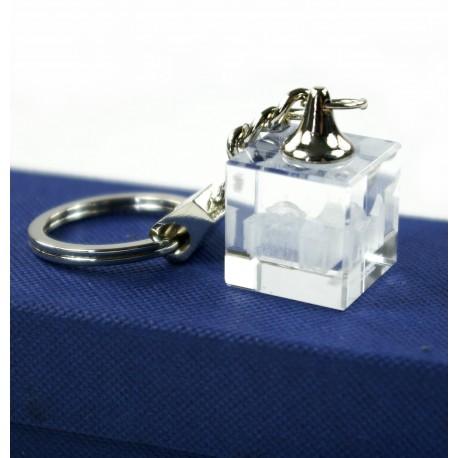 Porte-clef cube de verre gravé en 3D