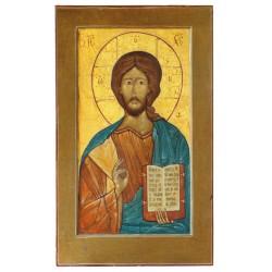 Carte icône du Christ Pantocrator. (marron)