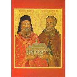 Carte icône de Saint Nectaire d'Egine et Saint Simon le Myroblite.