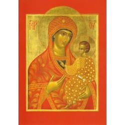 Carte icône de la Mère de Dieu (Vierge Hodighitria) - rouge