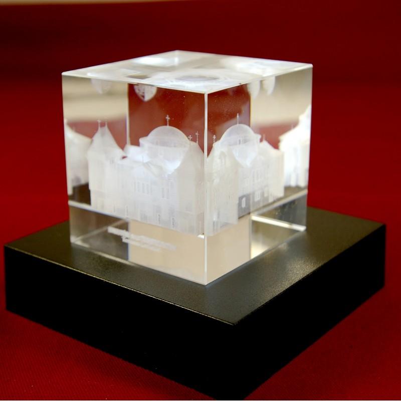 socle lumineux pour cube de verre grav en 3d. Black Bedroom Furniture Sets. Home Design Ideas