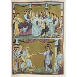 Carte reproduction d'icône. La Cène et le lavement des pieds