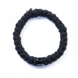 Chapelet orthodoxe en laine 33 gros grains perle noire