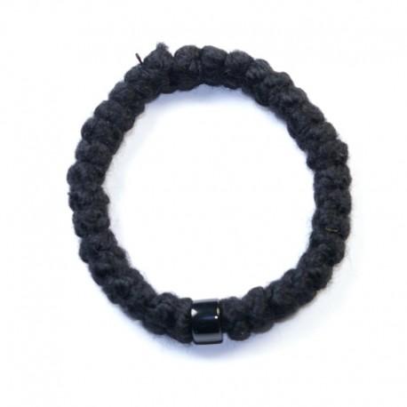 Chapelet en laine 33 gros grains perle noire
