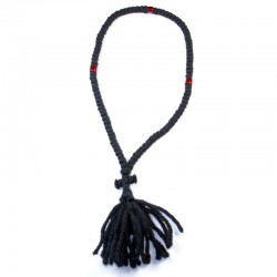 Chapelet orthodoxe en laine 100 gros grains perles rouges
