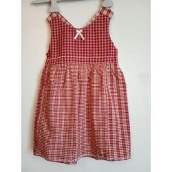 Robe à bretelles petits carreaux rouges et beige - 3 - 4 ans