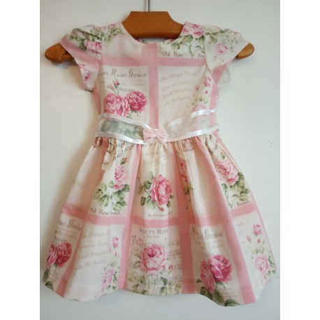 Robe rose avec manches - 6 - 9 mois