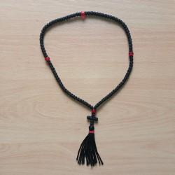 Chapelet orthodoxe 100 grains en rayonne avec grains rouges