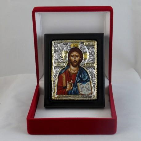 Icône du Christ peinte sur tissu