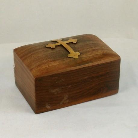 Coffret en bois avec croix dorée petite taille