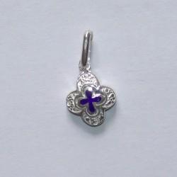 Petite croix bleue en argent n° T12