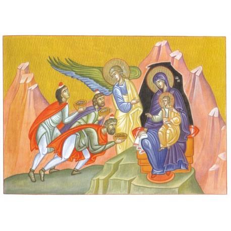Carte de Noël l'adoration des mages