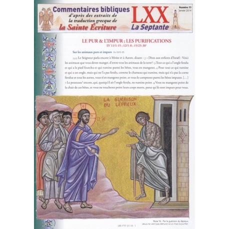 Le pur et l'impur. Les purifications. Lv 11/1-15 Lv 12/1-8 Lv 15/25-30