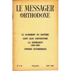Le messager orthodoxe n° 11 et 12 Année 1960 et 1961